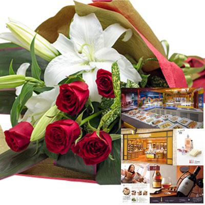 還暦祝い 誕生日 プレゼント 結婚祝い 退職 お祝い 父 母 結婚記念日 10周年 生花ユリ バラ レッド 花束とカタログギフトセットグルメ・ブランド品 雑貨 B-DO (SE)