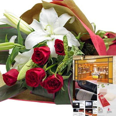 還暦祝い 誕生日 プレゼント 結婚祝い 退職 お祝い 父 母 結婚記念日 10周年 生花ユリ バラ レッド 花束とカタログギフトセットグルメ・ブランド品 雑貨 B-CE (SE)