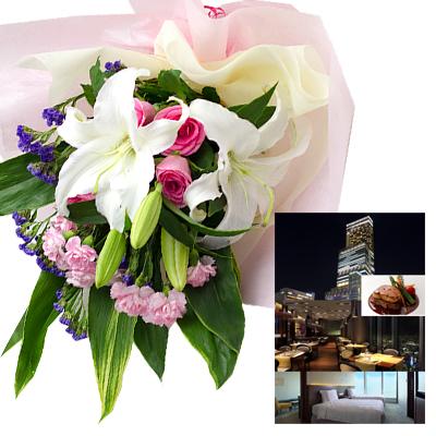 結婚祝い 誕生日 プレゼント 母 退職 お祝い 両親 お母さん 結婚 記念日 周年 生花ユリ バラ ピンク 花束とカタログギフトセットグルメ・ブランド品 雑貨 B-XOO (SE)