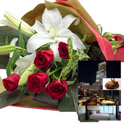 還暦祝い 誕生日 プレゼント 結婚祝い 退職 お祝い 父 母 結婚記念日 10周年 生花ユリ バラ レッド 花束とカタログギフトセットグルメ・ブランド品 雑貨 B-XOO (SE)