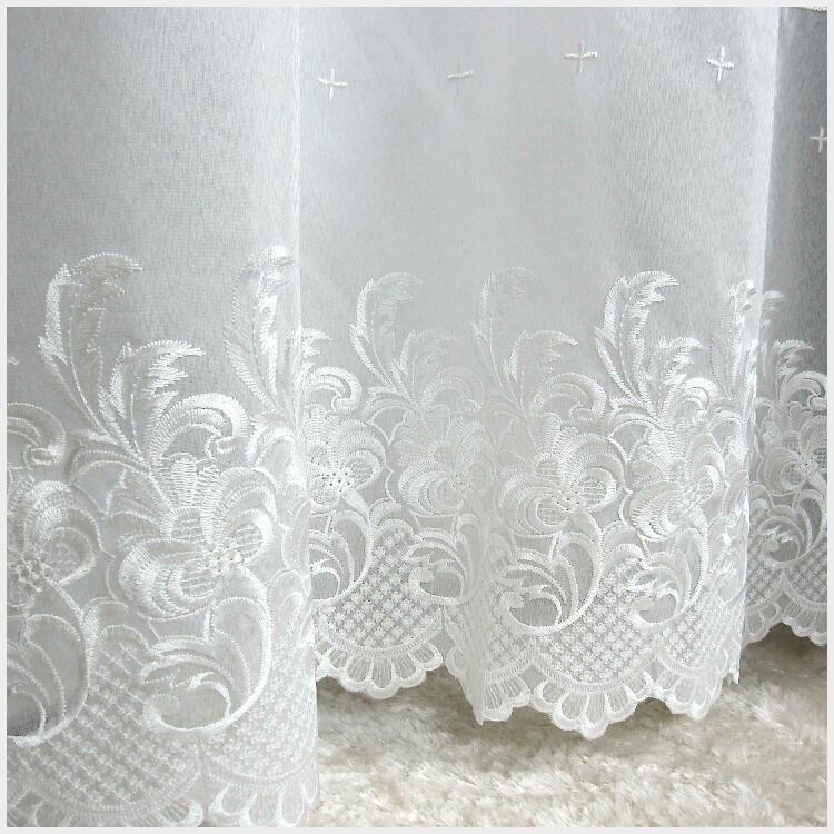 豪華 刺繍 透けにくい ヨーロピアン ボイル レースカーテン 150×176cm(2枚入り) [幅150cm 丈176cm 優雅 綺麗 ゴージャス シック リビング 掃き出し窓 大窓 2枚組 2枚セット] あす楽
