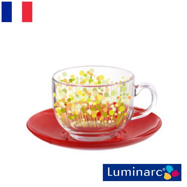 Luminarc フラワーフィールド レッド カップ220&ソーサー6客 アルク ルミナルク フランス 食器 お皿 ボウル 容器 インポート 輸入 おしゃれ かわいい 新生活 ガラス 磁器 陶器