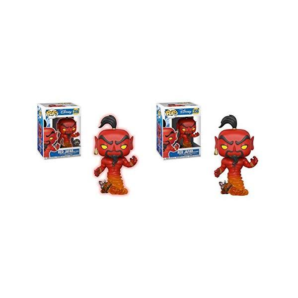 アラジン グッズ ジーニー ジャファー ファンコ ポップ アクションディズニー フィギュア ドール 人形 おもちゃ Funko POP! Disney Aladdin: Red Jafar as Genie LIMITED EDITION GLOW CHASE and Red Jafar as Genie NON CHASE Toy Action Figure - 2 POP BUNDLE