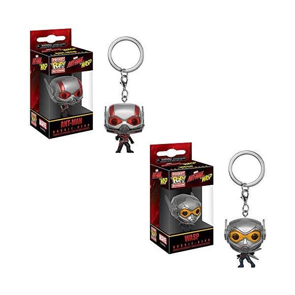 アントマン ワスプ ファンコ マーベル フィギュア 人形 キーホルダー キーリング アクセサリー Funko Pocket POP! Key Chain Marvel Ant-Man and The Wasp Movie: Ant-Man Bobble-Head and The Wasp Bobble-Head Toy Action Figure - 2 PIECE BUNDLE