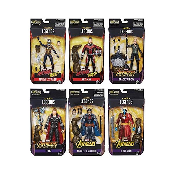 アントマン ワスプ フィギュア 人形 セット Husbro Avengers Legends: Cull Obsidian, Black Knight, Thor, Black Widow, Ant-Man, Wasp, Malekith Figure Set