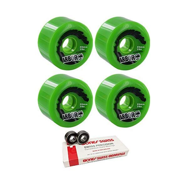 Arbor アーバー スケートボード スケボー ウィール 70mm グリーン 緑 ボーンズ ベアリング セット Arbor Skateboards 70mm Biothane Green Longboard Skateboard Wheels 78A with Bones Bearings 8mm Bones Swiss Skateboard Bearings (8) Pack Bundle of 2 Items
