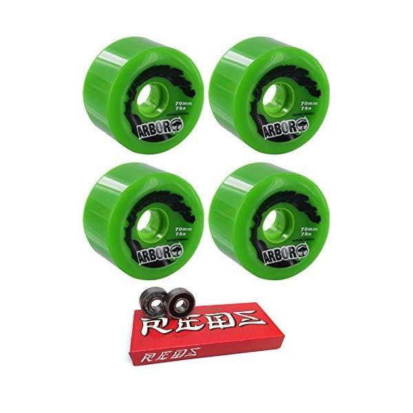 Arbor アーバー スケートボード ウィール 70mm グリーン 緑 ボーンズ ベアリング Arbor Skateboards 70mm Biothane Green Longboard Skateboard Wheels 78A with Bones Bearings 8mm Bones Super Reds Skate Rated Skateboard Bearings (8) Pack Bundle of 2 Items