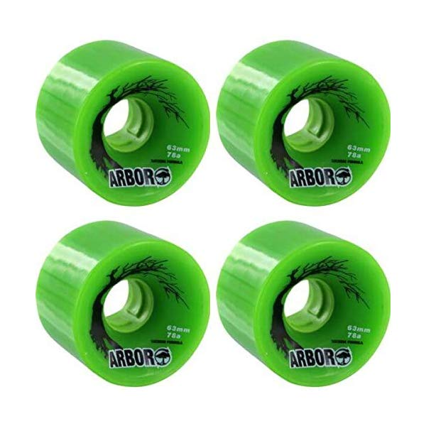 Arbor アーバー スケートボード スケボー ウィール 63mm グリーン 緑 海外モデル アメリカ直輸入 海外正規品 Arbor Skateboards Biothane Green Skateboard Wheels 63mm 78A (Set of 4)