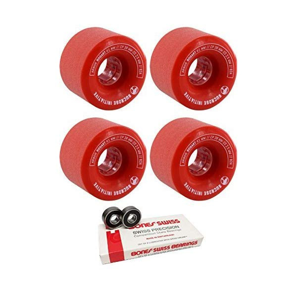 Arbor アーバー スケートボード スケボー ウィール 61mm レッド 赤 ボーンズ ベアリング セット Arbor Skateboards 61mm Bogart Red Skateboard Wheels 82A with Bones Bearings 8mm Bones Swiss Skateboard Bearings (8) Pack Bundle of 2 Items