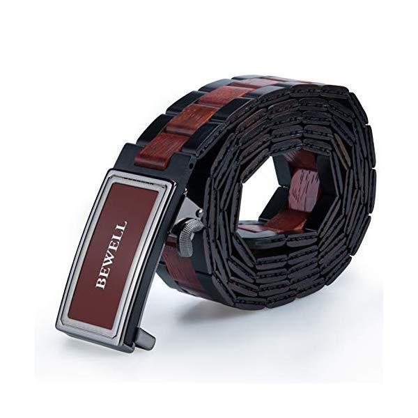 ビーウェル BEWELL メンズ 木製 ウッド ベルト BEWELL Men's Belts Handmade Wooden Belt with Adjustable Buckles for Men Width 1.3'' (Ebony and Red Sandalwood)