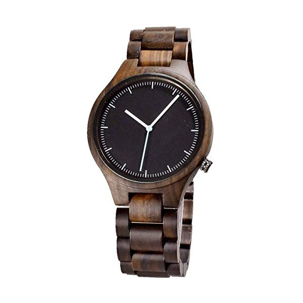 ビーウェル BEWELL ウッドウォッチ 木製腕時計 Simple Men Wood Watches Black Sandal Wood Thin Dial Watch