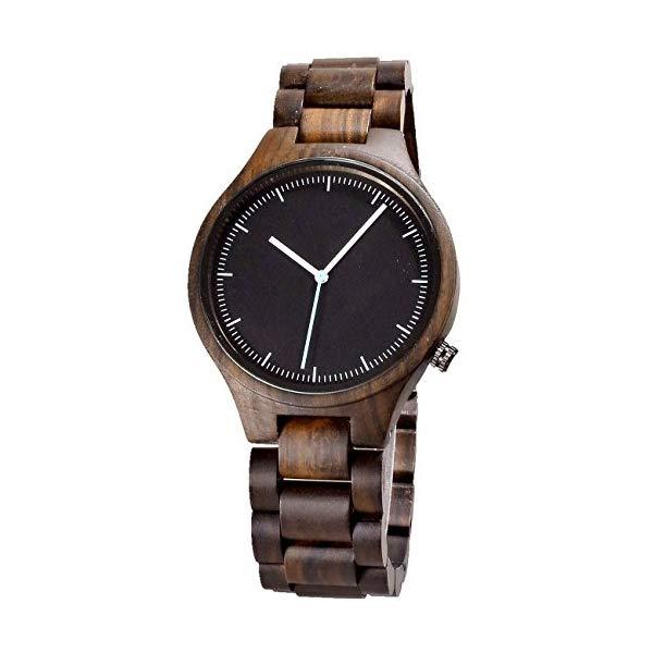 ビーウェル BEWELL ウッドウォッチ 木製腕時計 Simple Men Wood Watches Black Sandal Wood Thin Dial Watch