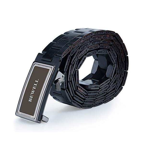 ビーウェル BEWELL メンズ 木製 ウッド ベルト Bewell Wood Belt for Men with Adjustable Buckle, Handmade Mens Wooden Dress Belts