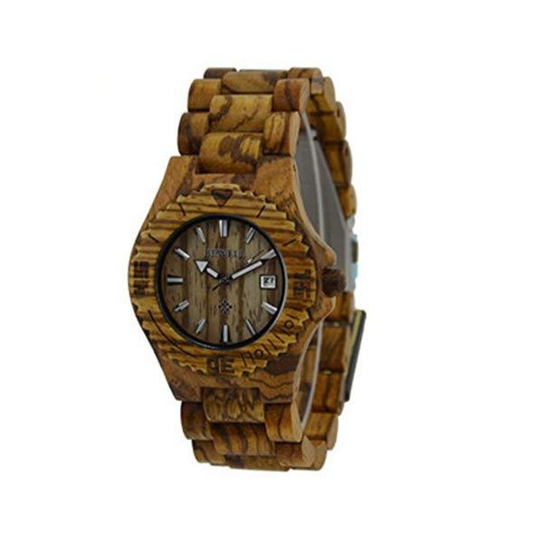 ビーウェル BEWELL ウッドウォッチ 木製腕時計 ZS-W020C BEWELL Coffee Zebra Wooden Men Watches Quartz Analog Watch with Calendar