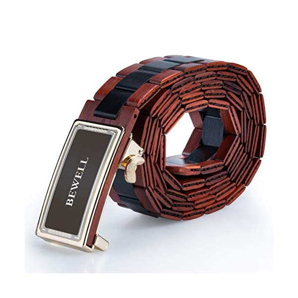 ビーウェル BEWELL メンズ 木製 ウッド ベルト BEWELL Men's Belts Handmade Wooden Belt with Adjustable Buckles for Men Width 1.3'' (Red Sandalwood and Ebony)