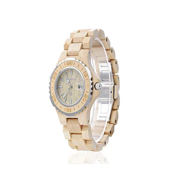 ビーウェル BEWELL ウッドウォッチ 木製腕時計 ユニセックス 男女兼用 メンズ 男性用 レディース 女性用 BEWELL Unisex Wood Watch for Women Handmade Wooden Watches with Date for Men Quartz Wrist Watch