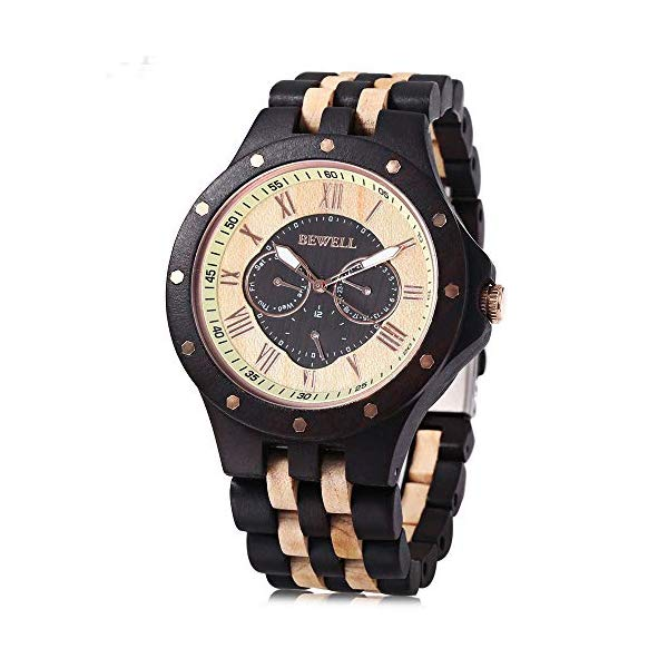 ビーウェル BEWELL ウッドウォッチ 木製腕時計 BEWELL Men Wooden Watch Quartz Movement Roman Numerals Scale Calendar Luminous Analog Wristwatch