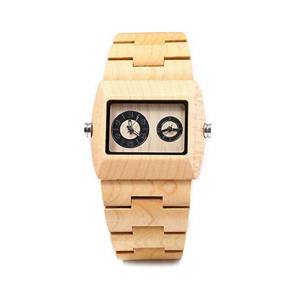 ビーウェル BEWELL ウッドウォッチ 木製腕時計 BEWELL Men Personalized Engrave Wood Watch Custom Double Movement Big Dial Wrist Watch