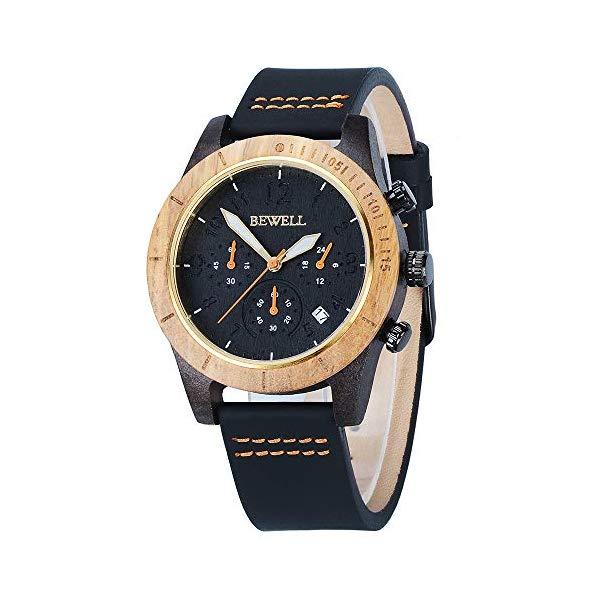 ビーウェル BEWELL ウッドウォッチ 木製腕時計 メンズ 男性用 BEWELL Wooden Watches for Men Father Gift Leather Band Chronograph Date Display Analog Quartz Handmade Casual Wood Wrist Watches