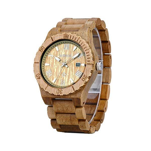 ビーウェル BEWELL ウッドウォッチ 木製腕時計 Bewell Wood Watches Men, Golden Round Case Luminous All Wood Strap Luxury Fashion Quartz Analog Dial Date Wrist Watches