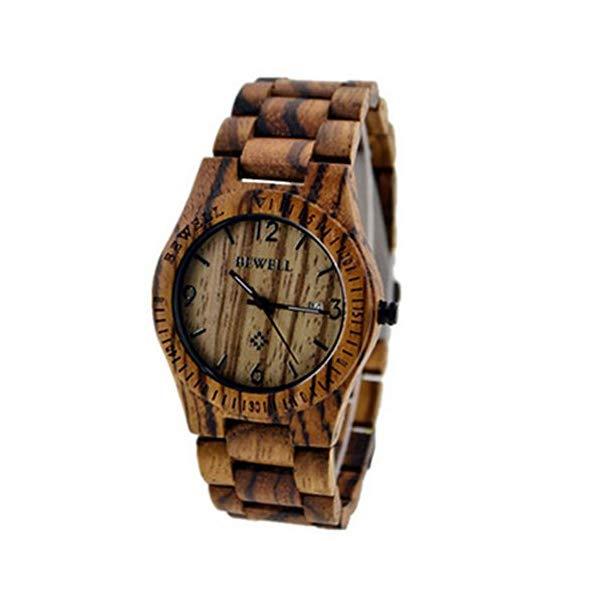 ビーウェル BEWELL ウッドウォッチ 木製腕時計 HY Men Diving WristWatches Wood Band Wristwatch Gift Brown Zebra Wood Watches Calendar