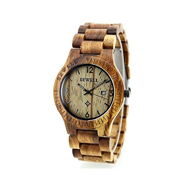 ビーウェル BEWELL ウッドウォッチ 木製腕時計 Seraiel Natural zebrawood Wrist Wooden Watch for men and women Quartz display color brown