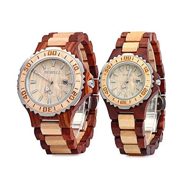 ビーウェル BEWELL ウッドウォッチ 木製腕時計 ZS-100B Bewell ZS-100B Couple Wooden Quartz Watch Men and Women Handmade Lightweight Date Display Fashion Watches