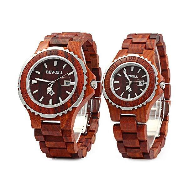 ビーウェル BEWELL ウッドウォッチ 木製腕時計 ZS-102B Bewell ZS-100B Couple Wooden Quartz Watch Men and Women Handmade Lightweight Date Display Fashion Watches