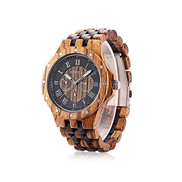 ビーウェル BEWELL ウッドウォッチ 木製腕時計 メンズ 男性用 W116C Bewell W116C Mens Wooden Watch with Date Day Luminous Hands Lightweight Wristwatch