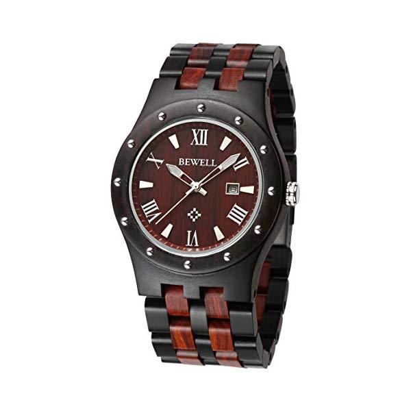 ビーウェル BEWELL ウッドウォッチ 木製腕時計 メンズ 男性用 ZS-W109A Bewell ZS-W109A Mens Wooden Watch Quartz Movement Lightweight Luminous Date Vintage Analog Wristwatch