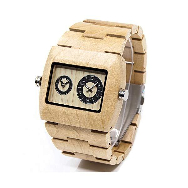 ビーウェル BEWELL ウッドウォッチ 木製腕時計 ZS-W021C-MP Bewell Wooden Men Watch Sub-dial Rectangle Dial Dual Time Zone Wrist Watches