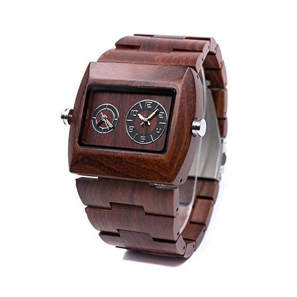 ビーウェル BEWELL ウッドウォッチ 木製腕時計 ZS-W021C-RD Bewell Wooden Men Watch Sub-dial Rectangle Dial Dual Time Zone Wrist Watches