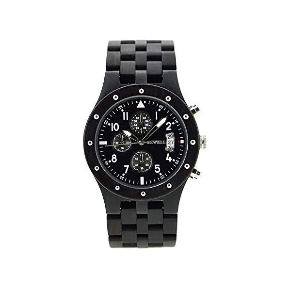 ビーウェル BEWELL ウッドウォッチ 木製腕時計 メンズ 男性用 W109D-BK Bewell Multifunctional Big Dial Luminous Wooden Watches Date Sub Dial Stopwatch Wristwatch for Men W109D
