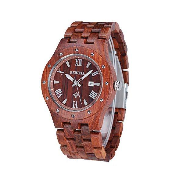 ビーウェル BEWELL ウッドウォッチ 木製腕時計 WYJ-W109A-RD-US1 Bewell Business Vintage Wooden Quartz Watch with Date Display