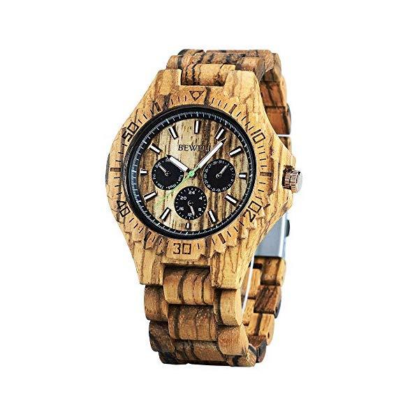 ビーウェル BEWELL ウッドウォッチ 木製腕時計 Wood Watch Men Multifunction Sub-dials Luminous Pointers Fashion Wooden Watches Gift