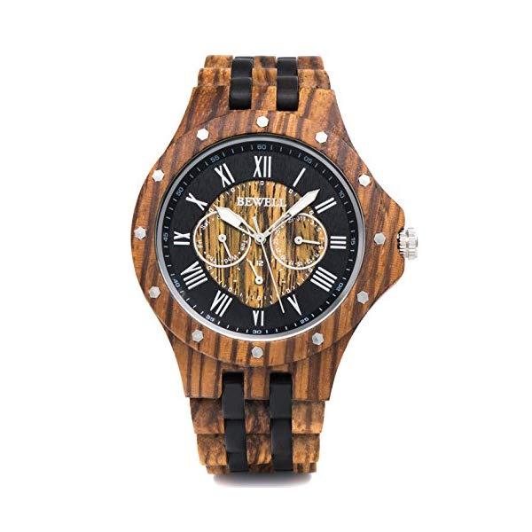 ビーウェル BEWELL ウッドウォッチ 木製腕時計 メンズ 男性用 BEWELL Wood Watches Mens Date & Date Display Luminous Hands Vintage Lightweight Wooden Wrist Watch