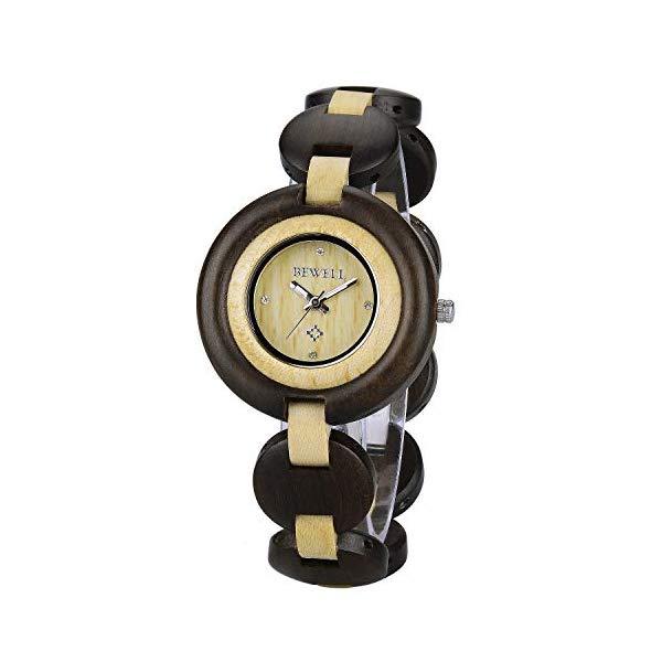 ビーウェル BEWELL ウッドウォッチ 木製腕時計 レディース 女性用 Bewell Ladies Wooden Bracelet Dress Watch, Elegant Two Tone Luminous Analog Quartz Round Watches for Women