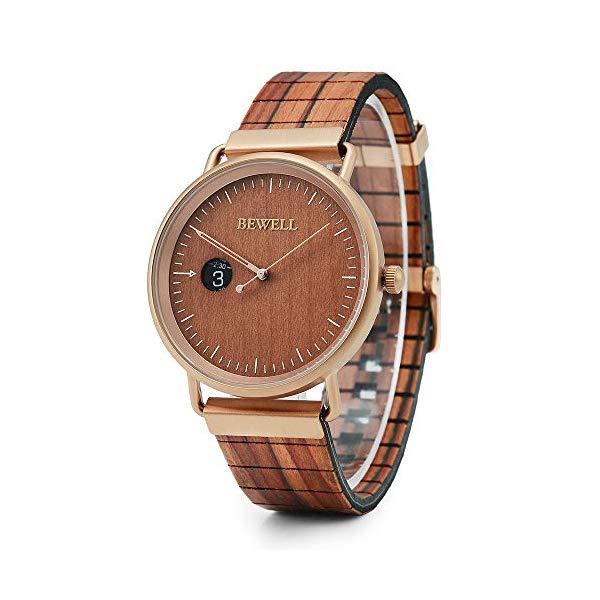 ビーウェル BEWELL ウッドウォッチ 木製腕時計 BEWELL Wood Watch Men Women Simple Minimalist Leather Wooden Strap Steel Shell Quartz Wrist Watches