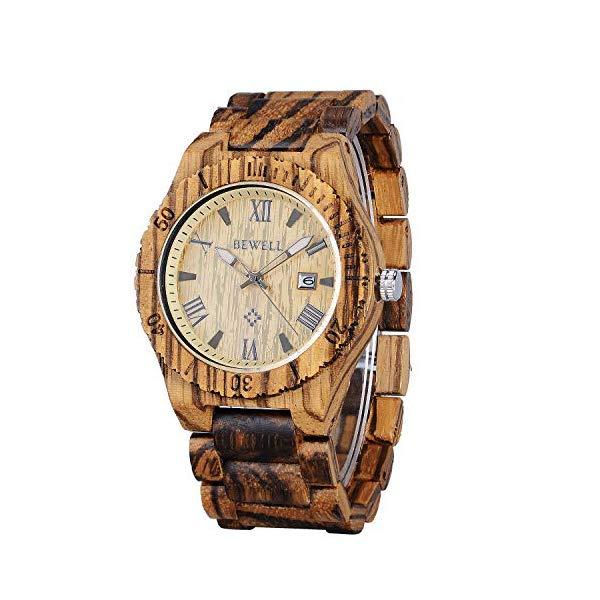 ビーウェル BEWELL ウッドウォッチ 木製腕時計 Bewell Men Wood Watches Handmade Natural Luminous Pointers Date Display Quartz Analog Classic Wristwatch