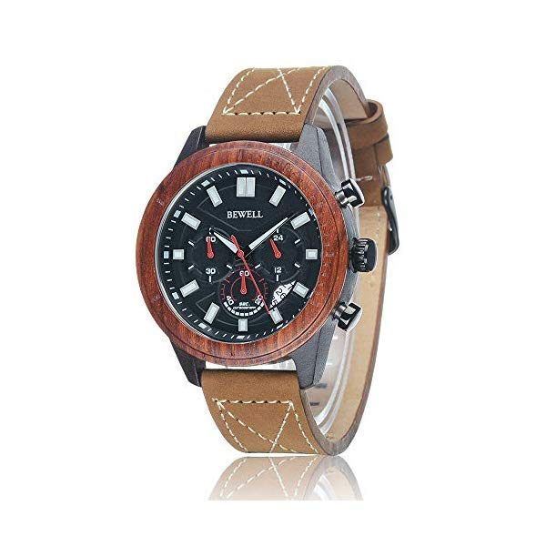 ビーウェル BEWELL ウッドウォッチ 木製腕時計 メンズ 男性用 BEWELL Mens Wooden Wristwatch Round Quartz Analog Watch Stylish Genuine Leather Strap Combined Chronograph Watch