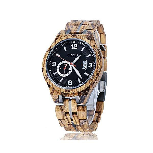 ビーウェル BEWELL ウッドウォッチ 木製腕時計 メンズ 男性用 BEWELL Wood Watch for Men Father Gift Automatic Mechanical Date Display Luminous Pointer Luxury Lightweight Wooden Band Timepieces Wrist Watch