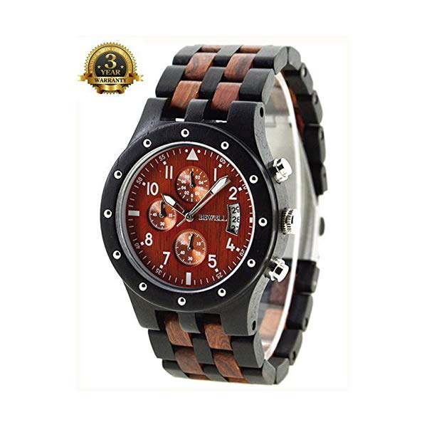 ビーウェル BEWELL ウッドウォッチ 木製腕時計 メンズ 男性用 Wooden Watch Men's Chronograph Black Multifunction Eco-Friendly Natural Wood Watch