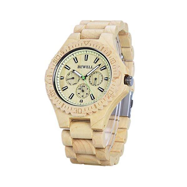 ビーウェル BEWELL ウッドウォッチ 木製腕時計 W116C Bewell Men Wood Watches Unique Sub-dials Night Luminous Stylish Analog Handmade Wristwatch W116C