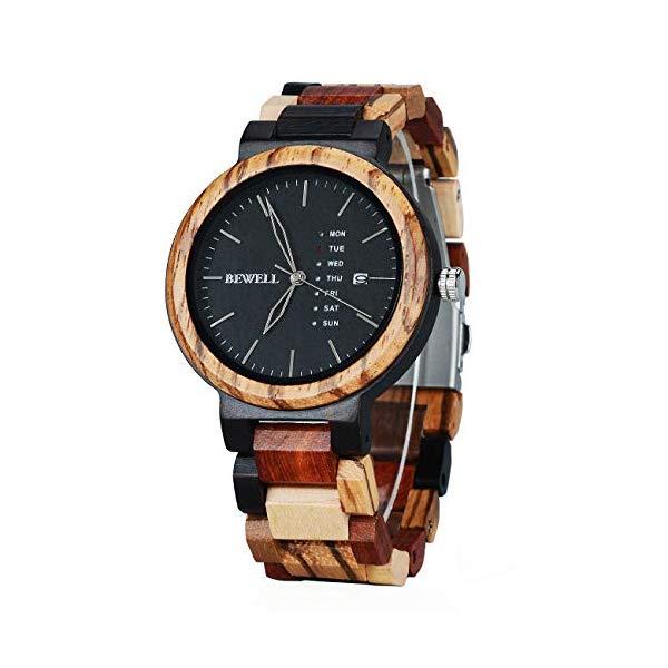 ビーウェル BEWELL ウッドウォッチ 木製腕時計 Men Colorful Wood Watches Multifunction Week & Date Quartz Mix Wooden Wrist Watch Lightweight Unique Gift