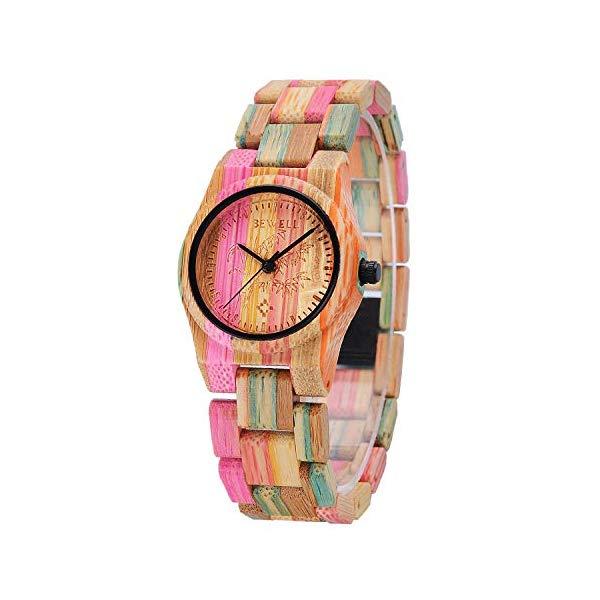 ビーウェル BEWELL ウッドウォッチ 木製 竹 腕時計 WYJ-W105DL-2-US1 Bewell Women Elegant Cute Look Wooden Watch Analog Quartz Lightweight Colorful Wristwatch