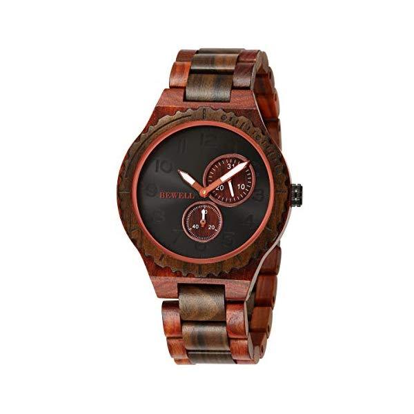 ビーウェル BEWELL ウッドウォッチ 木製腕時計 BEWELL Men Wooden Watch Quartz Movement Luminous Pointer Lightweight Analog Wrist Watches