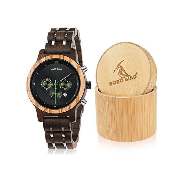 ボボバード BOBO BIRD 腕時計 木製 時計 ウッドウォッチ レディース 女性用 BOBO Bird Women Wooden Watches Luxury Wood Metal Strap Chronograph & Date Display Quartz Watch Fashion Zebra Wood Casual Business Ebony Wristwatches