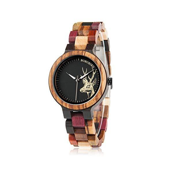 ボボバード BOBO BIRD 腕時計 木製 時計 ウッドウォッチ レディース 女性用 BOBO BIRD Wood Wristwatch Womens Colorful Wooden Watches Casual Quartz Watch Unique Deer Pattern Elegant Ladies Wristwatch
