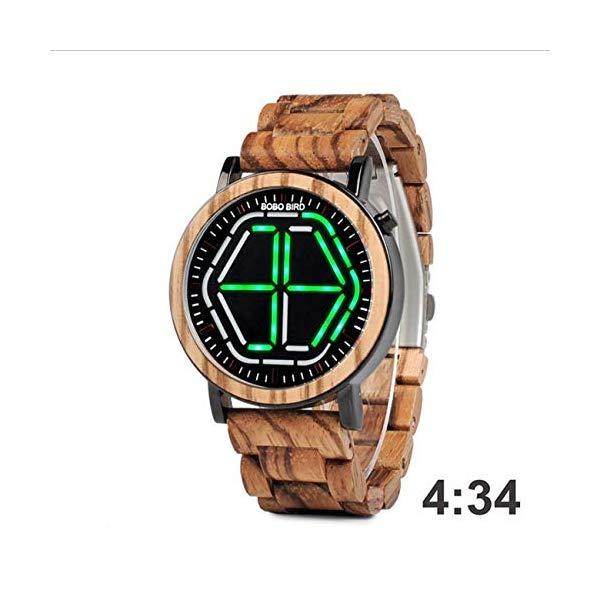 ボボバード BOBO BIRD 腕時計 木製 時計 ウッドウォッチ メンズ 男性用 BOBO BIRD Men Quartz Watch LED Display Night Vision Digital Wrist Watch for Men with Wooden Watch Box,Green