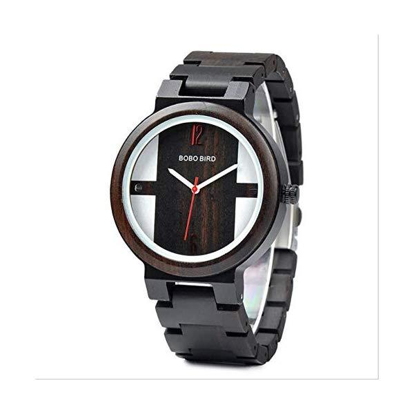 ボボバード BOBO BIRD 腕時計 木製 時計 ウッドウォッチ メンズ 男性用 BOBO BIRD Wood Quartz Round Watch Men Waterproof Wristwatch in Wooden Gift Box,Black